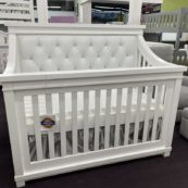 Roman Straight Panel Custom Tufted Crib in White