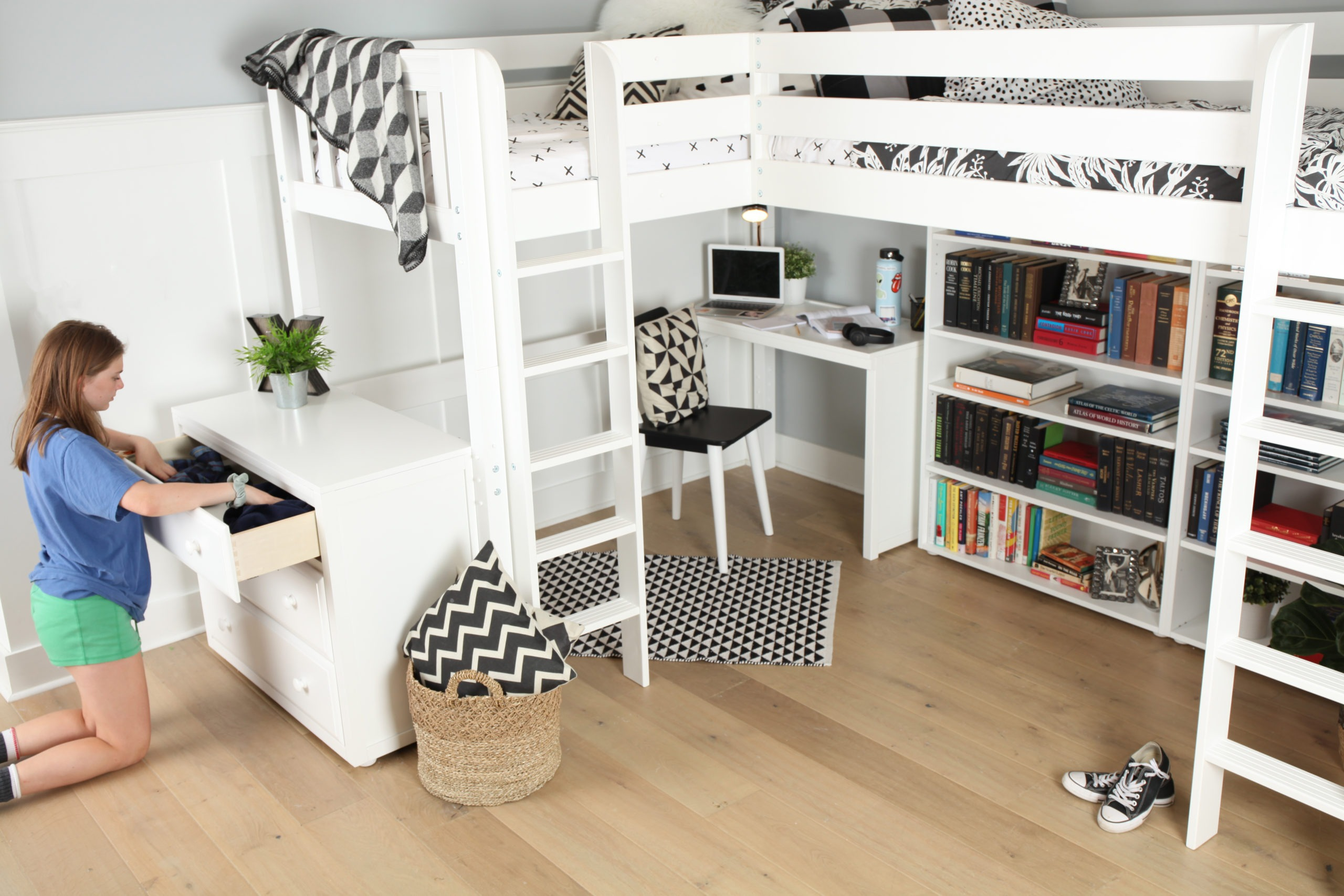 Maxtrix Twin High Corner Loft Bed White Natural And Chestnut Kids Furniture In Los Angeles