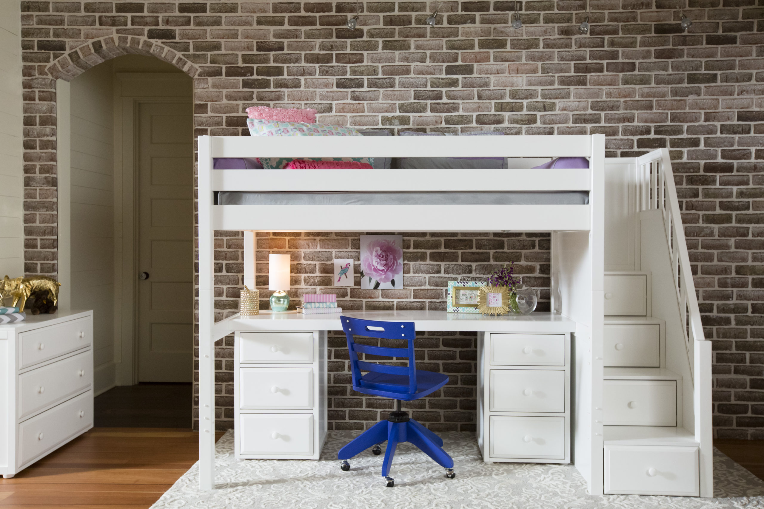 Maxtrix Twin High Loft Bed With Stairs Desk And Dressers White Natural And Chestnut Kids Furniture In Los Angeles