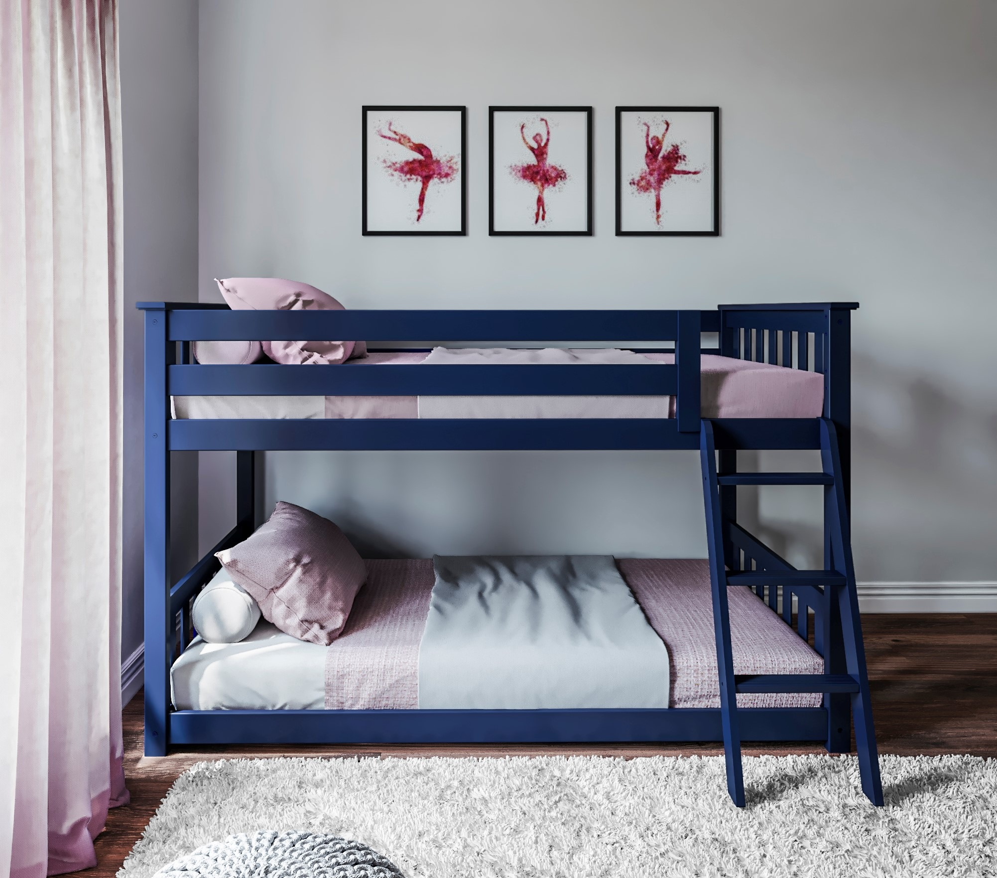 Twin Over Twin Low Bunk Bed With Angled Ladder White Grey And Blue Kids Furniture In Los Angeles